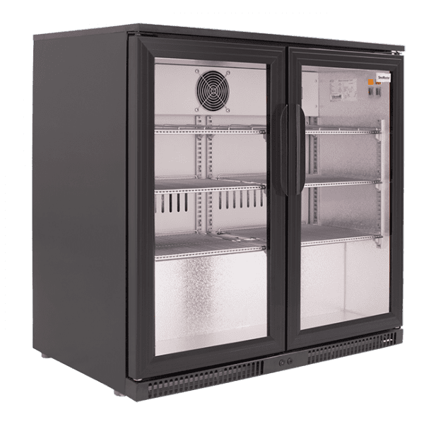 SnoMaster 200L Double Door Undercounter Beverage Cooler (SD-220) with Lock Side View Left