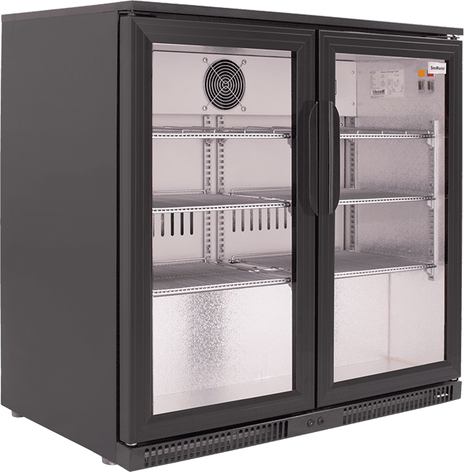 SnoMaster 200L Double Door Undercounter Beverage Cooler (SD-220) with Lock Side View Left Close Up
