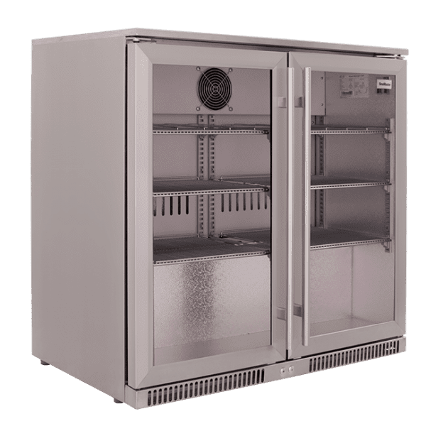 SnoMaster 200L Double Door Undercounter Beverage Cooler Stainless Steel SD-220SS Side Left
