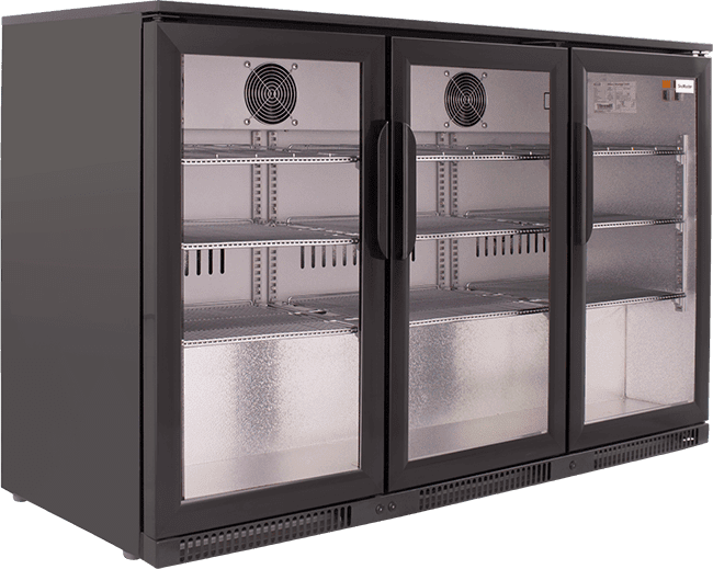 SnoMaster 300L Triple Door Under Counter Beverage Cooler (SD-300) with Lock Left View