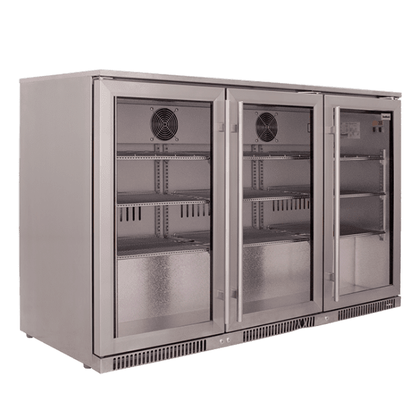 SnoMaster 300L Triple Door Under Counter Beverage Cooler (SD-300) Silver with Lock Left View