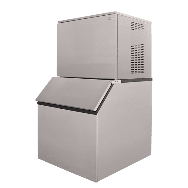 SnoMaster 450kg Plumbed-In Commercial Ice Maker for bars and restaurants (SM450) Angled View