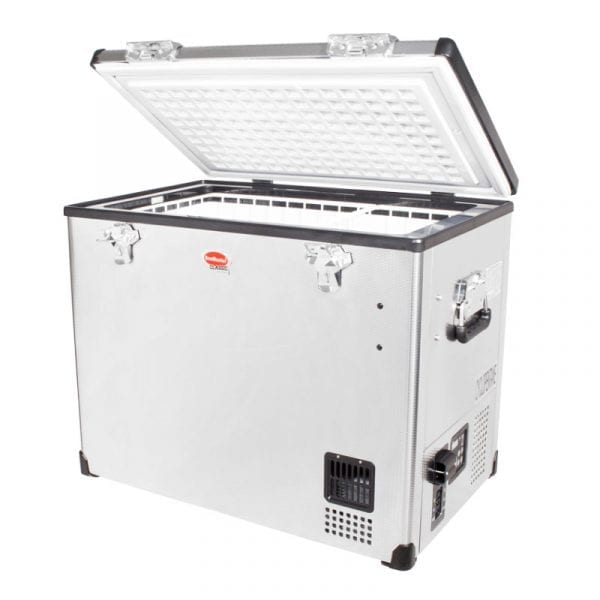 SnoMaster 80L Compressor Cooled Single Compartment Stainless Steel Portable Camping Fridge/Freezer AC/DC (SMDZ-CL80) Left Side Open
