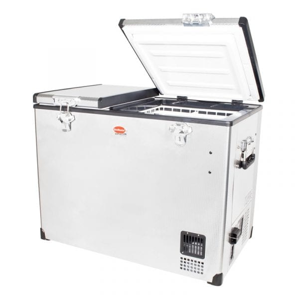 SnoMaster 85L Compressor Cooled Dual Compartment Stainless Steel Portable Camping Fridge/Freezer (SMDZ-EX85D) Left Side Open