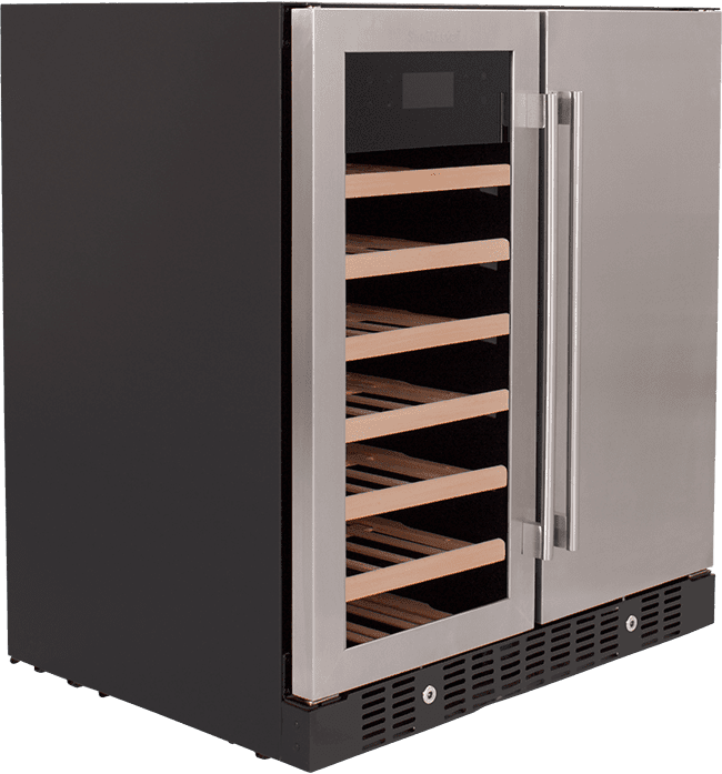 SnoMaster 176L Double Door Beverage/Wine Cooler with Digital Thermostat (VT-19D Pro) Right View Close Up