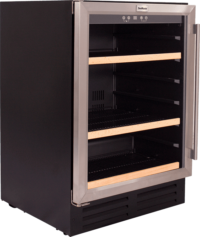 SnoMaster 145L Stainless Steel Undercounter Beverage Cooler (VT-41H) Black Side View Close Up
