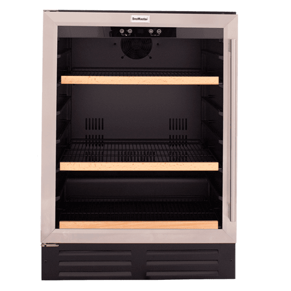 SnoMaster 145L Stainless Steel Undercounter Beverage Cooler (VT-41H) Black Front View