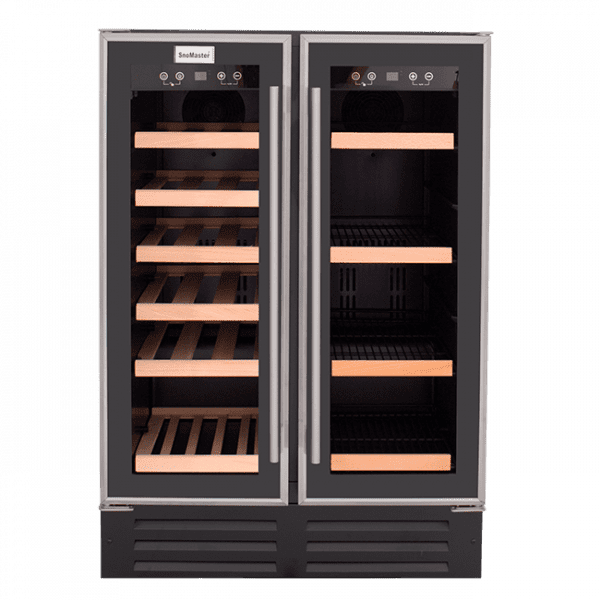 SnoMaster 116L Double Glass Door Beverage/Wine Cooler with Digital Thermostat (VT-19D) Front View