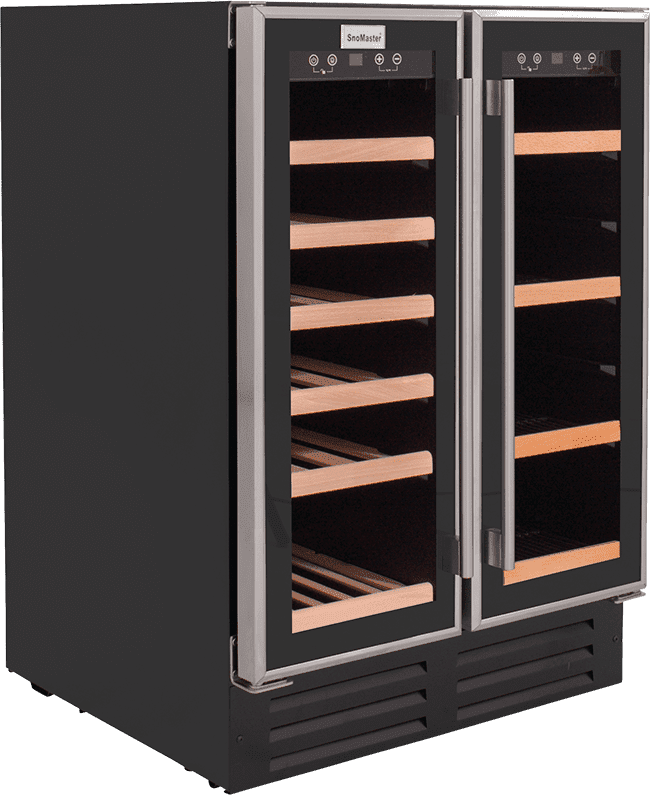 SnoMaster 116L Double Glass Door Beverage/Wine Cooler with Digital Thermostat Right View Close Up