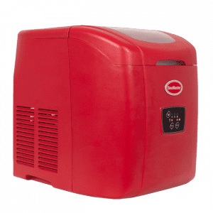 Red table-top ice maker