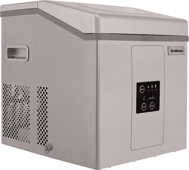 SnoMaster Portable Ice Maker Stainless Steel 12 Bullet Ice Cubes / Cycle (ZBC15) Side