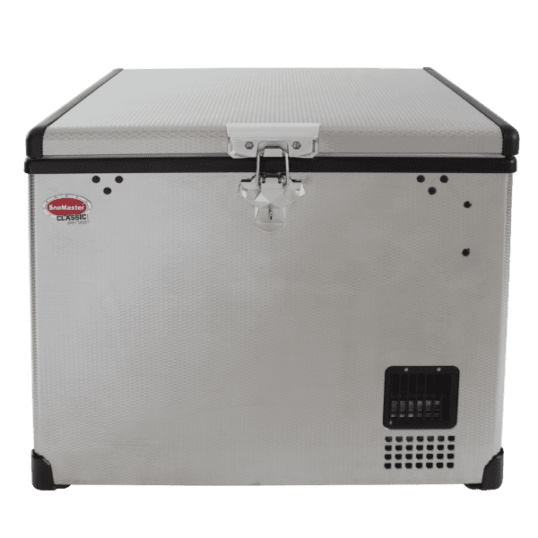 SnoMaster 40L Single Compartment Stainless Steel Portable Fridge/Freezer (SMDZ-CL40) for Camping and Off Roading Front View