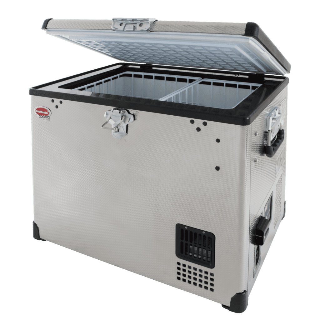 SnoMaster 40L Single Compartment Stainless Steel Portable Fridge/Freezer (SMDZ-CL40) for Camping and Off Roading Side View Open Lid