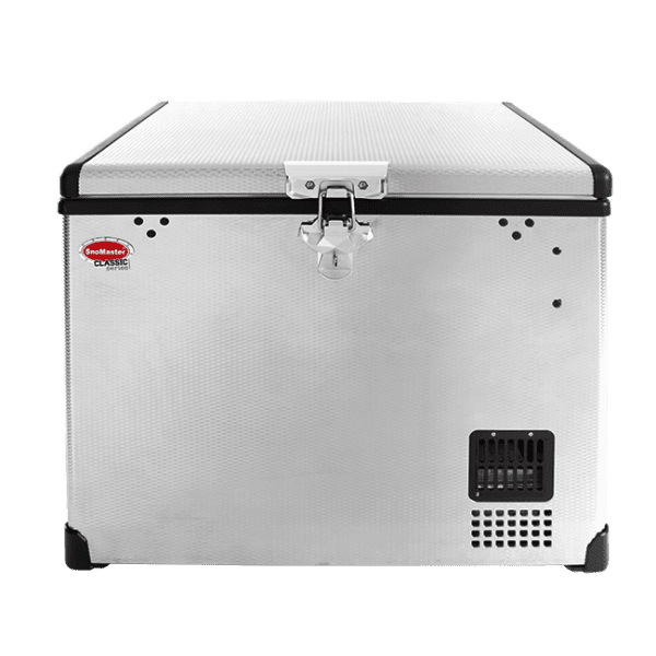 SnoMaster 40L Portable Stainless Steel Single Compartment AC/DC Camping Fridge / Freezer (SMDZ-CL40) Front View Locked