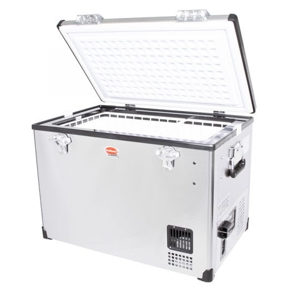 SnoMaster 60L Compressor Cooled Single Compartment Portable Stainless Steel Camping Fridge/Freezer AC/DC (SMDZ-CL60) Left Side Open