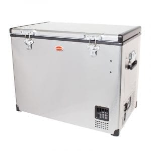 SnoMaster 95L Single Compartment Portable Stainless Steel Camping Fridge/Freezer AC/DC (SMDZ-EX95) Left Side Closed