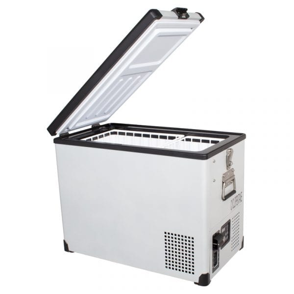 SnoMaster 42L Single Compartment Powder Coated Portable AC/DC Camping Fridge/Freezer (SMDZ-TR42) Left Side Open
