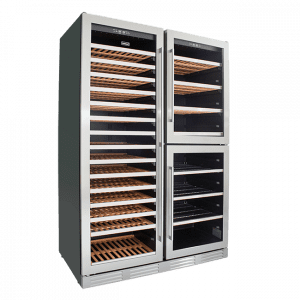 SnoMaster Triple Door Dual Zone Wine Cooler (SMCTB-200) with Low Vibration Right View