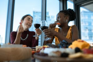 Mature red wines should be kept at a constant 17 to 18 degrees Celsius for the perfect cheese and wine lunch.