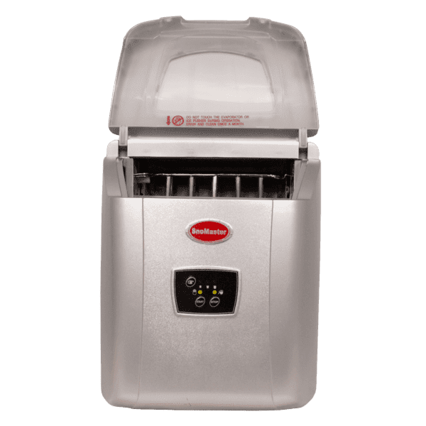 SnoMaster 12kg Small Portable Ice Maker (ZB-14G) with 10 Bullet Ice Cube Per Cycle Capacity Front View Open