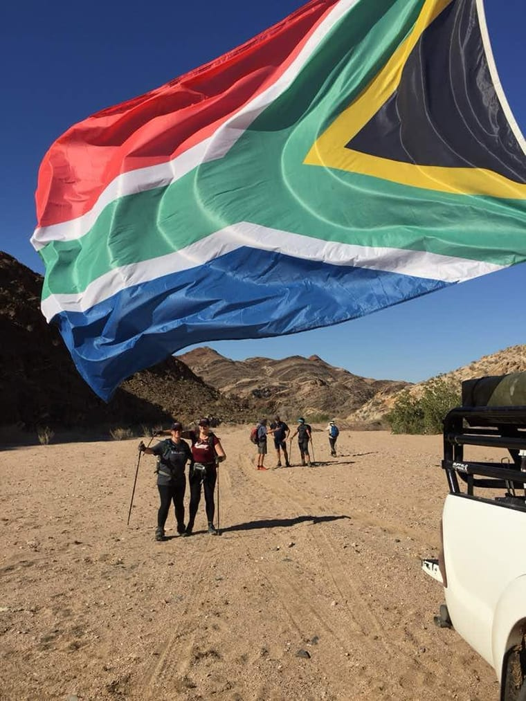 The South African flag lights up the Namibian sky as slackpackers reach another overnight spot on the Khan slackpacking trail.