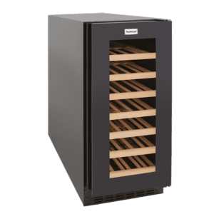 SnoMaster Compressor Cooled Stainless Steel 32 Bottle (103L) Commercial and Domestic Single Zone Wine Cooler (VT-32W) Angled Right View