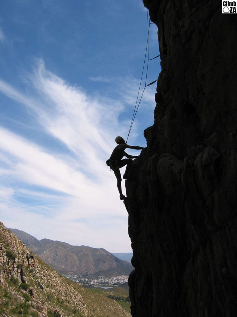 A climber making his way up Lost World, Montagu, Western Cape. Photo by Justin Lawson.
