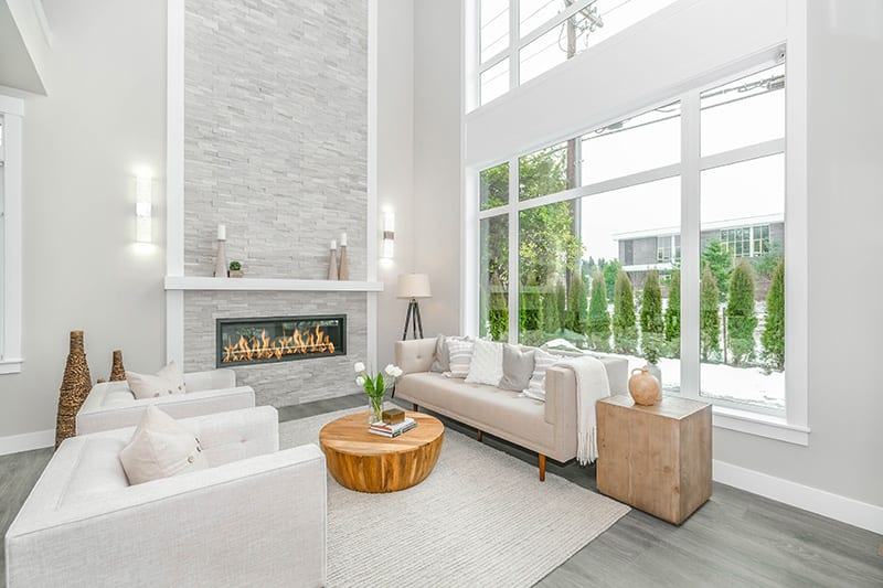 Clad your fireplace in stone for an elegant, natural look.